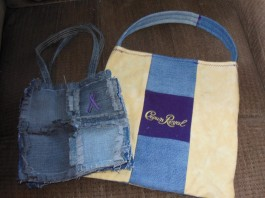 Homemade bags, Medium denim or large Crown Royal theme, $20 each + $2.07 shipping